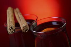 Mulled wine with cinnamon Stock Photos