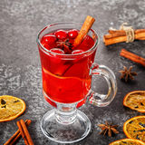 Mulled wine with cinnamon, anise, cranberries and orange. Royalty Free Stock Photos