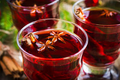 Mulled wine with cinnamon and anise Royalty Free Stock Photos