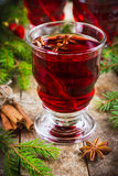 Mulled wine with cinnamon and anise Stock Photo