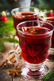Mulled wine with cinnamon and anise Royalty Free Stock Images