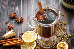 Mulled wine. With cinnamon and anise stars Stock Images