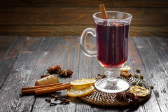 Mulled wine. With cinnamon and anise stars Royalty Free Stock Photo