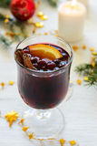 Mulled wine with cinnamon and orange Stock Photography