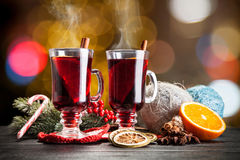 Mulled wine with cinnamon and orange Stock Photo