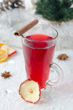 Mulled wine with cinnamon stick and star anise Stock Images