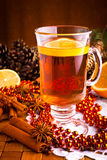 Mulled wine with cinnamon sticks Stock Photography