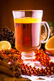 Mulled wine with cinnamon sticks Stock Photo