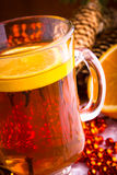 Mulled wine with cinnamon sticks Stock Images