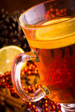 Mulled wine with cinnamon sticks Royalty Free Stock Photo