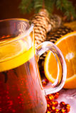 Mulled wine with cinnamon sticks Royalty Free Stock Photos