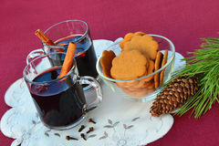 Mulled wine with cinnamon sticks and star anise Stock Photo