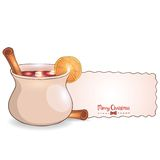 Mulled wine with cinnamon vector illustration Stock Image