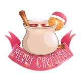 Mulled wine with cinnamon vector illustration Stock Photos