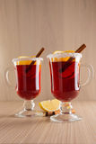 Mulled wine in clear glass mug Stock Photos