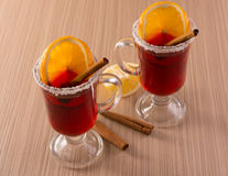 Mulled wine in clear glass mug Royalty Free Stock Photo