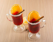 Mulled wine in clear glass mug Stock Image