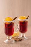 Mulled wine in clear glass mug Royalty Free Stock Image