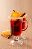 Mulled wine in clear glass mug Stock Photo