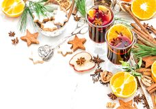 Mulled wine cocktail fruits spices Christmas table decoration. Mulled wine. Hot winter cocktail with fruits and spices. Christmas table decoration royalty free stock photos