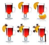 Mulled wine collection. Hot mulled wine collection isolated on white Royalty Free Stock Image
