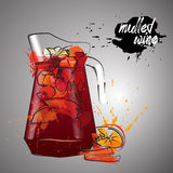 Mulled wine with color splash Stock Image