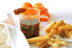 Mulled wine with cookies Stock Photography