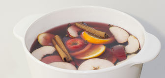 Mulled wine cooking in saucepan close up Royalty Free Stock Photography