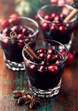 Mulled wine with cranberries and cinnamon royalty free stock photography