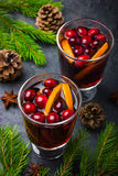 Mulled wine with cranberry and orange Stock Photos