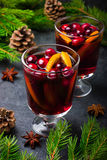 Mulled wine with cranberry and orange Stock Photography