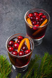 Mulled wine with cranberry and orange Royalty Free Stock Photography