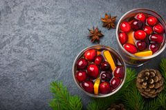 Mulled wine with cranberry and orange Stock Photo