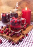 Mulled wine with cranberry and spices Royalty Free Stock Photography