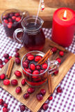 Mulled wine with cranberry and spices Royalty Free Stock Photo