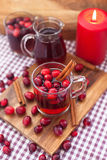 Mulled wine with cranberry and spices Stock Image