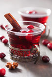 Mulled wine with cranberry and spices Stock Photo