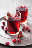 Mulled wine with cranberry and spices Royalty Free Stock Photos