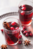 Mulled wine with cranberry and spices Royalty Free Stock Image
