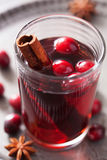 Mulled wine with cranberry and spices Stock Images