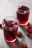Mulled wine with cranberry and spices Royalty Free Stock Images