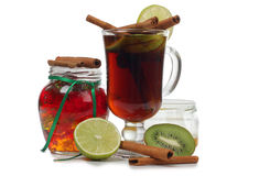 Mulled wine cup and jam Stock Photos