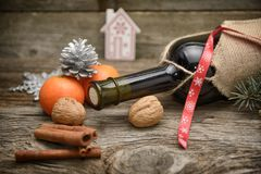 Mulled wine on a dark wooden background. Stock Images