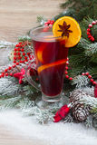 Mulled wine with decorated christmas tree Royalty Free Stock Image