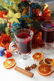 Mulled wine with decorated christmas tree Stock Photos