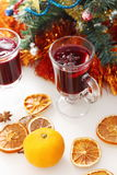 Mulled wine with decorated christmas tree Royalty Free Stock Photography