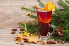 Mulled wine with decorated christmas tree Royalty Free Stock Images