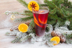 Mulled wine with decorated christmas tree Stock Photography