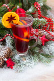 Mulled wine with decorated christmas tree Stock Photo