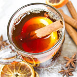 Mulled wine. Decoration with mulled wine close up royalty free stock image